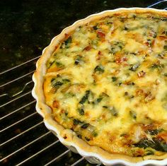 One Perfect Bite: Onion Bacon and Spinach Tart