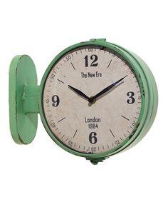 Look at this #zulilyfind! Green Double-Sided Station Clock #zulilyfinds
