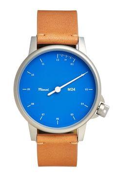 Men's Miansai 'M24' Round Leather Strap Watch, 35mm