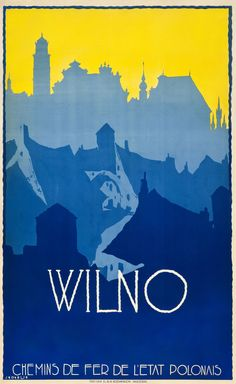 Vilnius, Lithuania Travel Poster (Polish State Railways); Design by Stefan Norblin, 1928