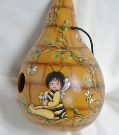 Bee Baby Bee Hive Gourd Birdhouse  Hand Painted by FromGramsHouse