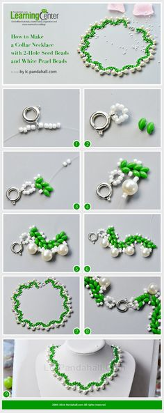 How to Make a Collar Necklace with 2-Hole Seed Beads and White Pearl Beads from LC.Pandahall.com