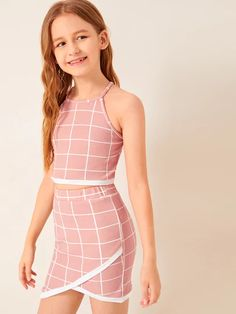 Girls Contrast Trim Grid Halter Top And Wrap Skirt Set – Preteen Clothing Young Girl Fashion, Tween Fashion, Girls Fashion Clothes, Teen Fashion Outfits, Stylish Outfits, Steampunk Fashion, Gothic Fashion, Kids Outfits Girls, Dresses Kids Girl