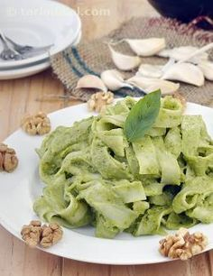 Pesto Sauce is an ideal addition to any noodle or pasta recipe, as it imparts a nice herby flavour and irresistibly luscious texture to it, thanks to the abundant use of basil and walnuts.