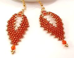 Orange Leaf Earrings, Seed Bead Earrings, Russian Leaf Earrings, Boho Earrings, Beaded Earrings, Hippie Earrings, Festival Earrings