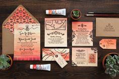 Best of 2013: Wedding Invitations | Trisha + Richard's Arizona Sunset Wedding Invitations by Lovely Paper Things