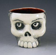 Handmade Black & White Skull Porcelain Cup - Handmade Father's Day Gift Idea