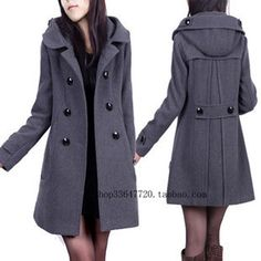 Hot Women's Wool Blend Military Trench Coat Belted Long Coat ...