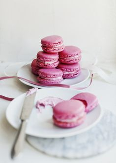 Raspberry macarons for a friend's wedding