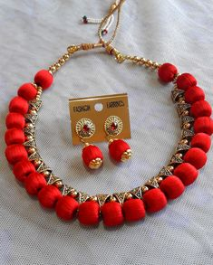 Red color #handmade #silk #thread #jewellery - #prasadsilkthreadjewellery Silk Thread Bangles Design, Thread Jewellery, Red Silk, Red Color, Beading, Handmade Jewelry, Shop, Cotton, How To Make