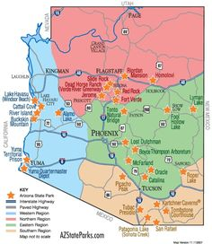 Arizona State Parks Map...By Artist Unknown...