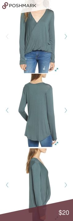 NWT Lush surplice top This top is an urban chic long sleeve. Features a cross over neckline. Color is a teal green. Not your average long sleeve shirt. This is a fun a flirty top! Product details in last photo! Lush Tops Tees - Long Sleeve