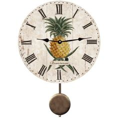 Charmant Pineapple Clock Hands And Pendulums Are Slightly Aged To Match The Vintage  Look Of The Artwork. See Lots Of Pendulum Clocks With A Beach Theme.