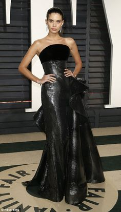 Model Sara Sampaio appeared to have taken inspiration from a bin liner when she got ready for the after party