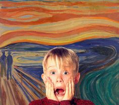 "macaulay culkin in ""The Scream"" O Grito Edvard Munch, Geeks, Pop Art, Le Cri, Funny Paintings, Home Alone, Cultura Pop, Funny Art, Art Forms"