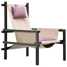 Gerrit Rietveld Style Slat Chair with Canvas, Holland, 1950   From a unique collection of antique and modern lounge chairs at https://www.1stdibs.com/furniture/seating/lounge-chairs/