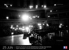 Concert of pianists Armen Babakhanyan, Vahagn Hayrapetyan, Tigran Hamasyan in Aram Khachaturian Concert Hall. Yerevan, Armenia