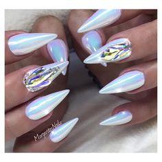 Unicorn chrome bling stiletto nails
