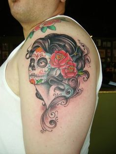 Old School Day Of The Dead Pin Up Girl Tattoo On Left Shoulder