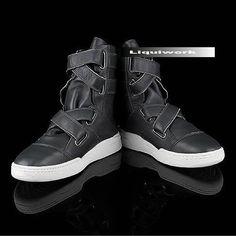 Cool Men Black Leather Cyber Goth Cowboy Fashion Boots SKU-1280080