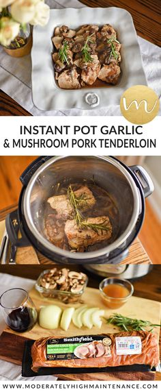 This Pressure Cooker Garlic and Mushroom Pork Tenderloin uses 7 ingredients and is a delicious, hassle-free meal in under 30 minutes! Instapot Pork Tenderloin, Pork Tenderloin Recipes, Pork Recipes, Asian Recipes, Crockpot Recipes, Cooking Recipes, Healthy Recipes, Instant Pot Pressure Cooker, Pressure Cooker Recipes