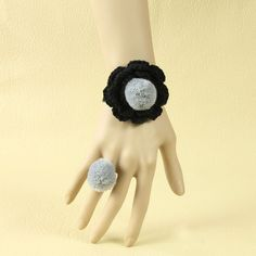 Concise Floral Girls Handmade Lolita Bracelet And Ring Set
