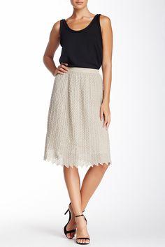 Herringbone Flare Knit Skirt