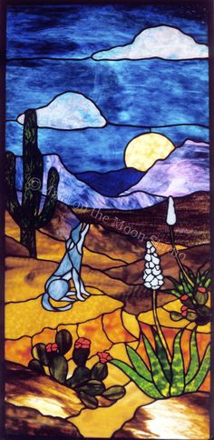 Desert Night Scene stained glass window (adapted from a design by Joyce Hurley) - Maid on the Moon Studio