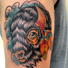 Buffalo tattoo on pinterest buffalo black work tattoo for Traditional bison tattoo