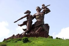 This photograph taken on September shows The Monument of the African Renaissance which sits on a volcanic hill overlooking Dakar, the capital of Senegal. United Nations Security Council, National Building, Big People, African Countries, Statue Of Liberty, Garden Sculpture, Korean, World, Renaissance