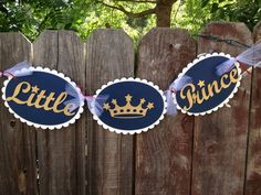 Little Prince banner in Navy metallic gold and by glittermama, $18.95