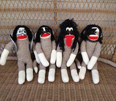 KISS is everywhere! Sock Monkey Dolls, KISS the Band. $154.95, via Etsy.