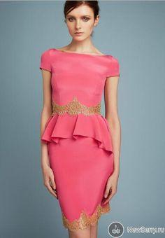 Short Sleeve Evening Dress, Short Evening Dress, Coral #fashion#promdress#eveningdress#promgowns#cocktaildress