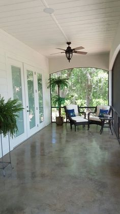 Striking, easy to clean, and cool on hot summer days! Acid Wash Stained Concrete 60 foot Back Porch - Home Decoration - Interior Design Ideas
