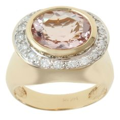 Michael Valitutti 14K Yellow Gold Oval-cut Morganite and Diamond Ring