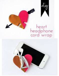 Diy: heart headphone cord wrap - polymer clay & cookie cutters - good way to wrap a small skein
