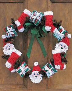 Santa and Stockings Crochet Christmas Wreath | AllFreeChristmasCrafts.com