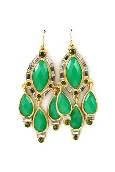 Chandelier Earrings in Kelly Green -Marquise and Teardrop Faceted Cut Cabochons set against lightly carved Gold, outlined with a shimmer of Crystals.