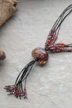 Necklace handmade designer lampwork glass by JewellerybyMaxine, $29.00