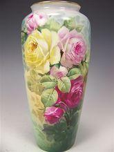 Beautiful Antique Porcelain Vase Hand Painted Victorian Roses Philip Rosenthal & Co. Bavaria circa 1900