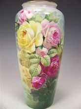 Beautiful Antique Porcelain Vase Hand Painted Victorian Roses Philip Rosenthal & Co. Bavaria circa 1900