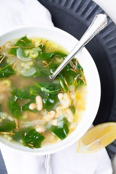 Rustic White Bean Soup. A healthy and hearty vegetarian fall soup!