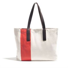 The Striped Tote in red. $35