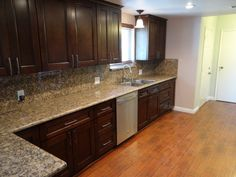 Kitchen Ideas Espresso Cabinets espresso cabinets and blue/grey wall paint. try java gel stain
