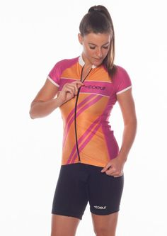 Women's Cycling Jersey Our women's cycling jerseys are made to fit and flatter women's bodies. This lightweight version of our top has barely there breathable fabric and shorter sleeves, both of which