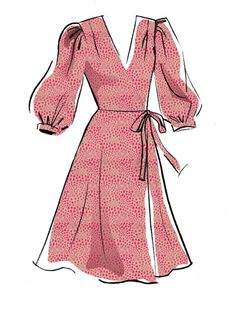 May 2020 - Misses' Dresses & Sash Sewing Pattern Dress Design Drawing, Dress Design Sketches, Dress Drawing, Fashion Design Drawings, Fashion Sketches, Clothing Sketches, Clothes Design Drawing, Formal Dress Patterns, Dress Sewing Patterns