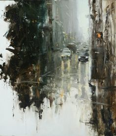 Oil on panel by: Hsin-Yao Tseng Love this composition! A very talented artist. Urban Landscape, Landscape Art, Landscape Paintings, Landscapes, Art Graphique, City Art, Contemporary Paintings, Art Inspo, Amazing Art