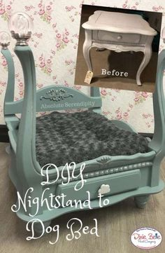 Let your pets live in the lap of luxury with this awesome DIY dog bed! Absolute Serendipity created this masterpiece from an old nightstand and some Vintage Duck Egg Chalk Mineral Paint! See what you can do with Dixie Belle today and shop now! Diy Pet, Diy Dog Bed, Pet Beds Diy, Doggie Beds, Cat Beds, Doggies, Dog House Bed, House Beds, Dog Furniture