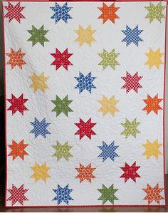 Stars Abound a PDF Quilt Pattern Throw Size by aBrightCorner