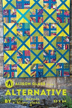 "Alternative Quilt pattern by Nydia Kehnle & Allison Glass Manufacturer: Alison Glass Details: Pattern for a 53"" x 64"" quilt. Fabric requirements: - 2 yards for ""X"" and ""plus"" strips - 1.5 yards for X-"
